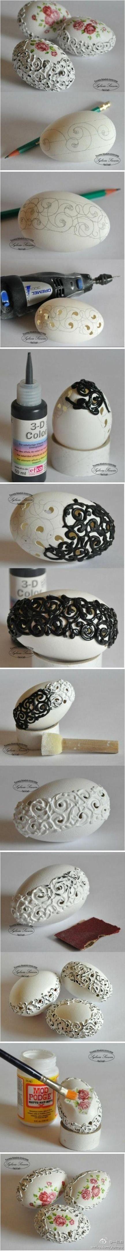 #手工创意# 原来鸡蛋壳也可以DIY成美丽的艺术品,这手作太强大了,喜欢手工的可以diy哦!