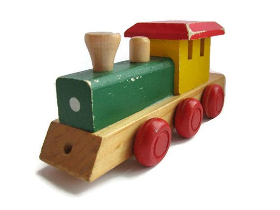 Vintage Wooden Train Toy Kids Toy Pull Toy Collection