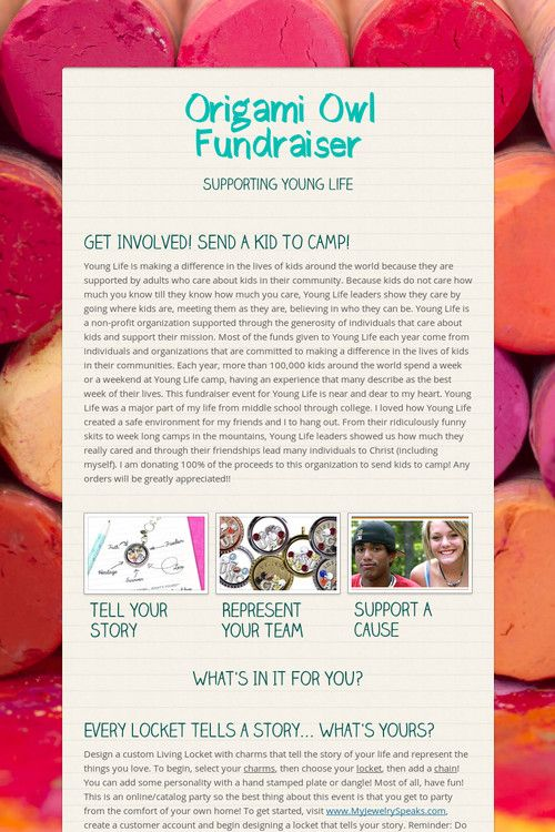 Origami Owl Fundraiser for Campership!