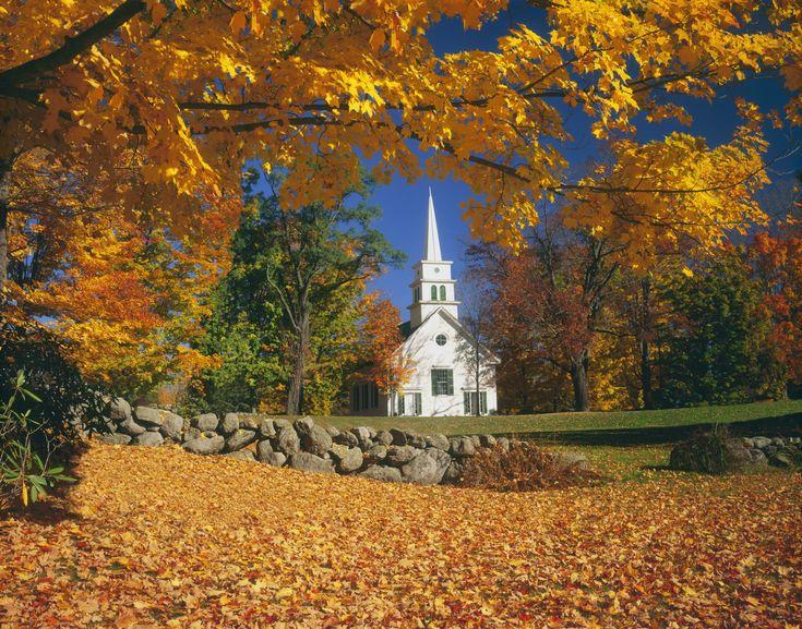 A New Hampshire Church In Autumn Autumn Scenery Autumn