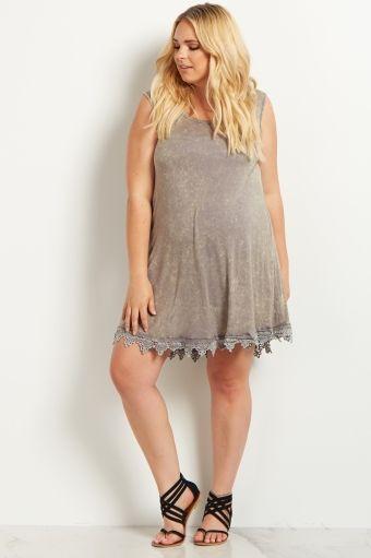 Blue Faded Lace Trim Plus Size Maternity Tunic/Dress