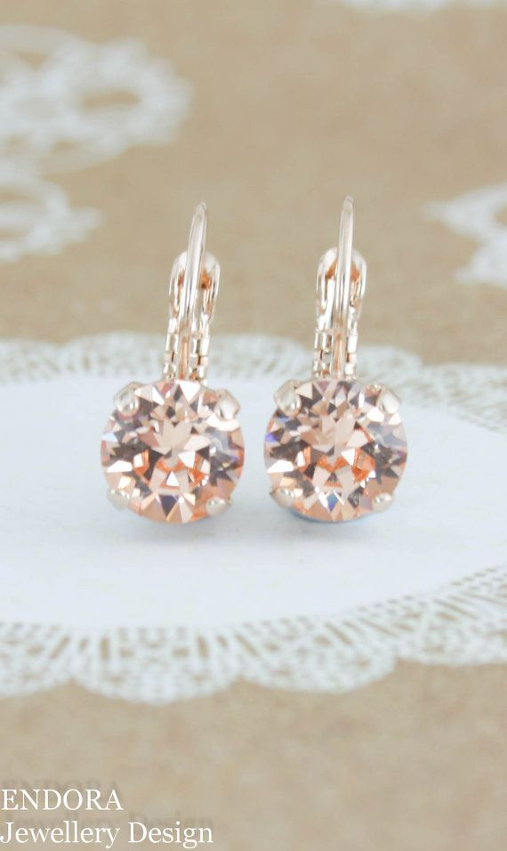 Peach earrings | Peach crystal earrings | Swarovski light peach crystal | peach wedding jewelry | www.endorajewellery.etsy.com | peach bridesmaid