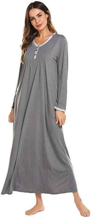 Ekouaer Womens Cotton Knit Long Sleeve Nightgown for Women 517443f69