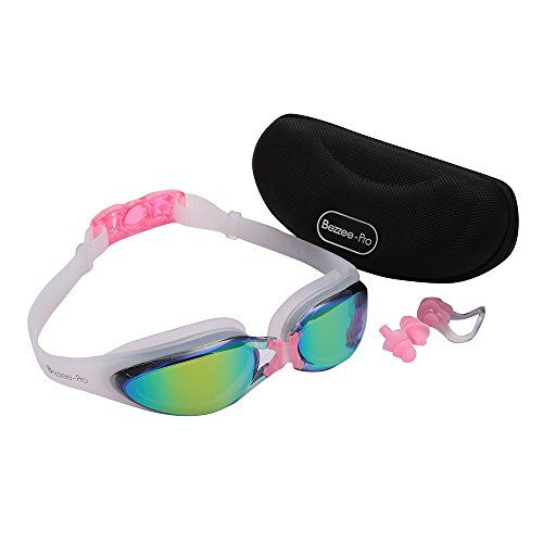 Adult Swim goggles Pink by BezzeePro  AntiFog Coated Color Mirrored Lens with Silicone eye Cups Leak Proof Best Pool Glass for Swimming With Quality Goggle Case Nose Clip  Ear Plugs * Click image to review more details.Note:It is affiliate link to Amazon.