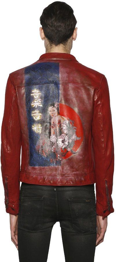 Hand-Painted Biker Leather Jacket