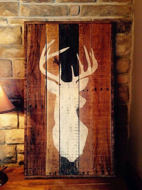 Deer Wall Art Reclaimed Pallet Wood Deer Wall Art
