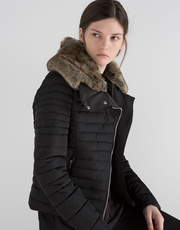Pull&Bear - woman - new products - quilted nylon jacket - black - 05712318-V2016