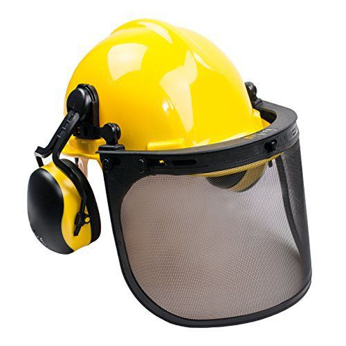RK Safety Industrial Forestry Chainsaw Safety Helmet Combo Set | Hard Halmet Hat, Hearing Protection Ear Muffs, Mesh Face Shield Visor, Hold Breacket | ANSI and EN Certified (Yellow)