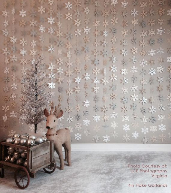 6ft/12ft- 2.5inch-8inch Paper Snowflake Garland- Silver, Ivory, White, Gray, Neutrals Christmas Winter- Holiday, Wedding, Photo Prop
