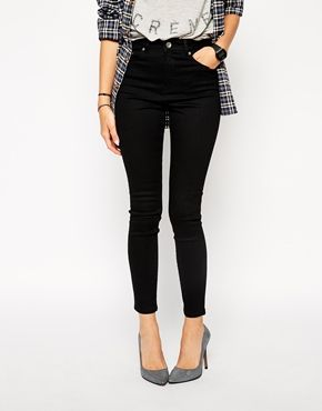 Enlarge ASOS Ridley High Waist Ultra Skinny Ankle Grazer Jeans in Clean Black