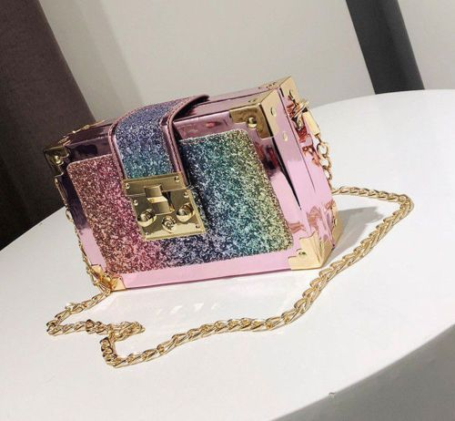 7ff84e634c 💖Mermaid Rainbow Glitter PINK Gold Clutch Small Purse Shoulder-Bag ...
