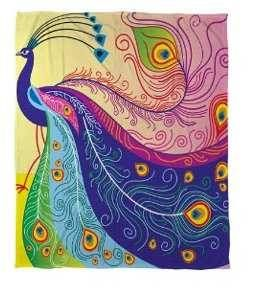 Thumbprintz Coral Fleece Throw, 60 by 80-Inch, Peacock Feathers $60.01 www.AllThingsPeacock.com