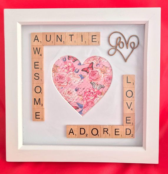 A lovely photo box frame for special aunties. Let her know how awesome, loved and adored she is. The standard frame comes with awesome auntie or amazing auntie, this can be changed to Aunt or Aunty, just leave a message at the time of order if you would like it changing. White