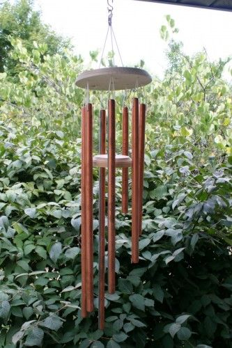 Easy to make copper wind chimes.  I'll use the bright plastic diamonds from the yard sale and the wooden circles stacked in the garage.  A pretty mobile for the morning deck - free!