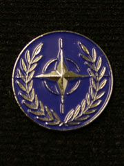 NATO EMBLEM PIN | Boxed Lapel pin badge for Nato, with safety fastener.