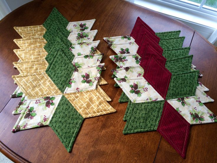 10 Quilted Christmas Star Cande Mats for a Church Holiday Function by seaquilt on Etsy