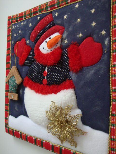 Cuadro hecho con la técnica patchwork sin aguja,  muñeco de nieve.