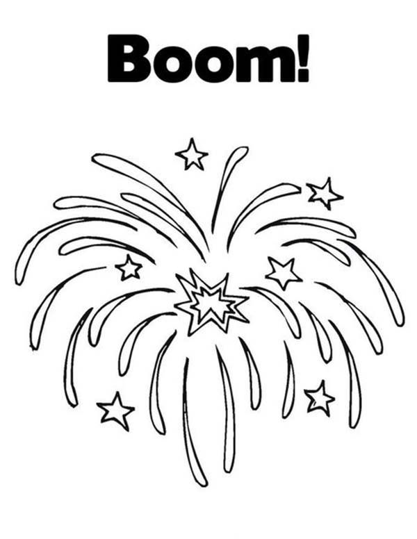 fourth of july coloring pages fireworks 2016 | firework clipart Colouring Pages | New year coloring pages ...