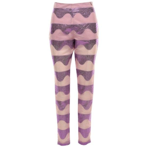 MCMA LONDON - spark pants (410 AUD) ❤ liked on Polyvore featuring pants, skinny trousers, skinny pants, purple skinny pants, sparkly pants and purple pants