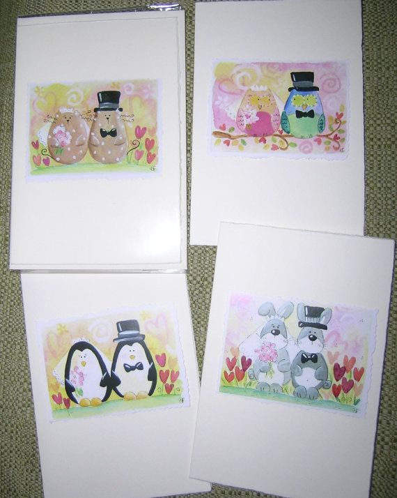 wedding greeting card watercolor print cat owl penguin by elisatta