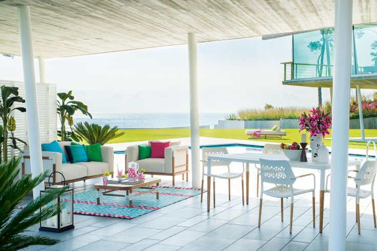 Sofa Charles, Table Charles and Chair Charles by Pfister, Tropical Retro, Outdoor Ideas, Design, Furnishing and Decoration Ideas, Decoration, Elegance and Style, Terrace, Garden, Beautiful View, Flowers