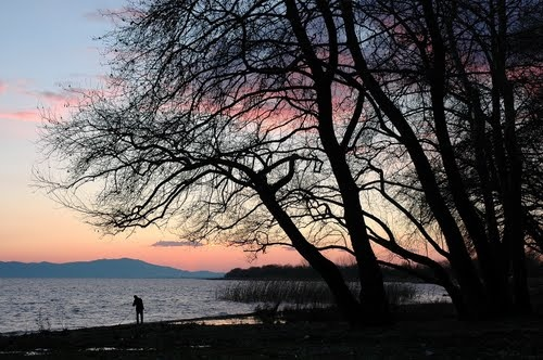 Sunset, trichonida lake,NW Greece