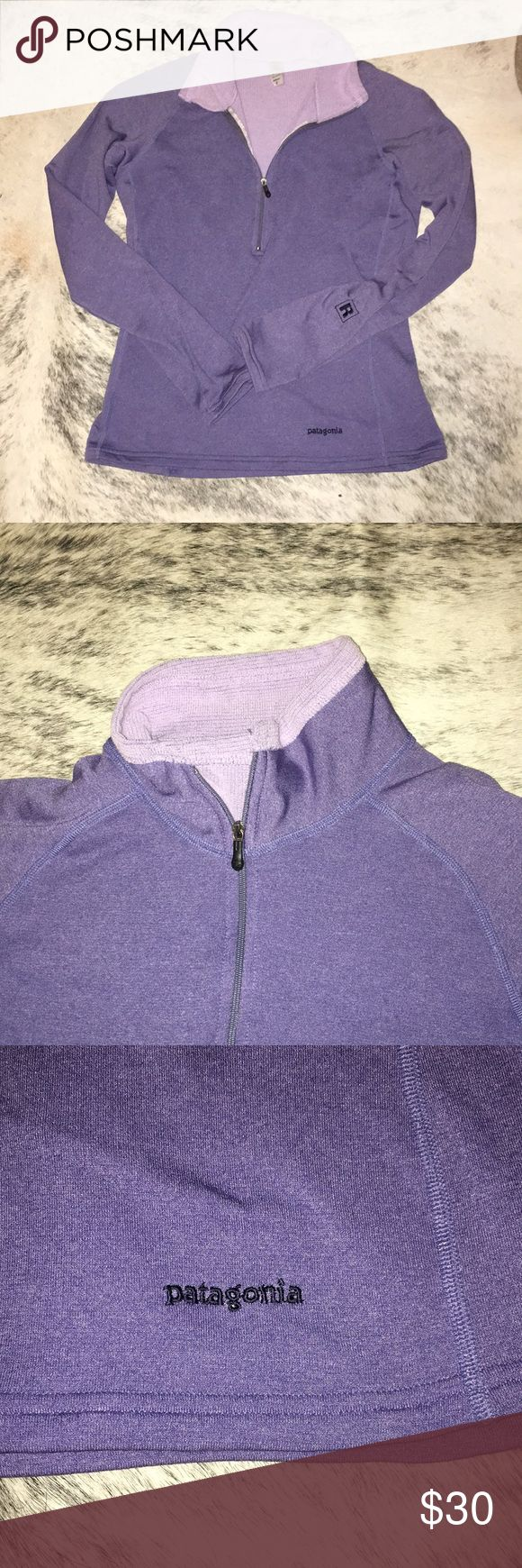 "Patagonia Quarter Zip Purple Pullover Small Purple Patagonia quarter zip Pullover. Women's small. Good used condition. HAS MONOGRAMED ""R"" ON ONE SLEEVE. See photos. Patagonia Tops Sweatshirts & Hoodies"