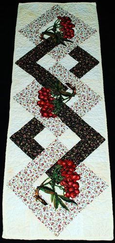 Advanced Embroidery Designs. Free Projects and Ideas. Quilted table runner with mountain ash berry embroidery.