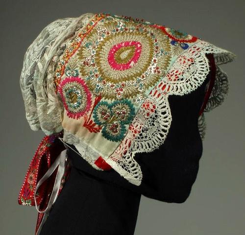 Antique Embroidered Bonnet Slovak Folk Costume Cap Kroj Metallic Embroidery Lace