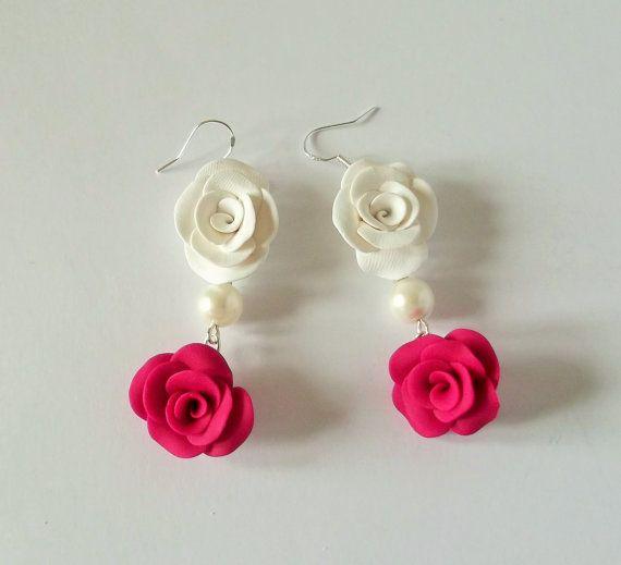 Pink Earrings Rose Jewellery Fuschia Pink by fabtasticflowers
