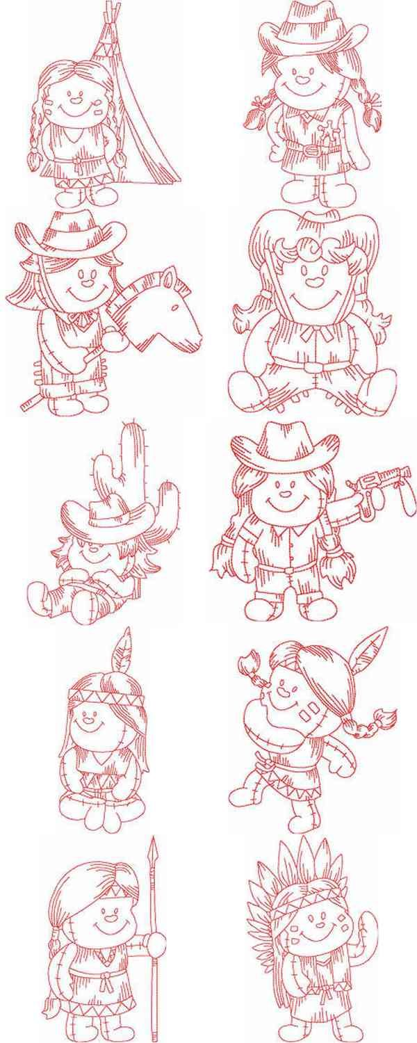 Childrens coloring sheet of a rag doll - Jn Rag Dolls Western Embroidery Machine Designs
