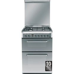 Indesit KDP60SES 60cm Wide Double Oven Dual Fuel Cooker - Stainless Steel | Appliances Direct