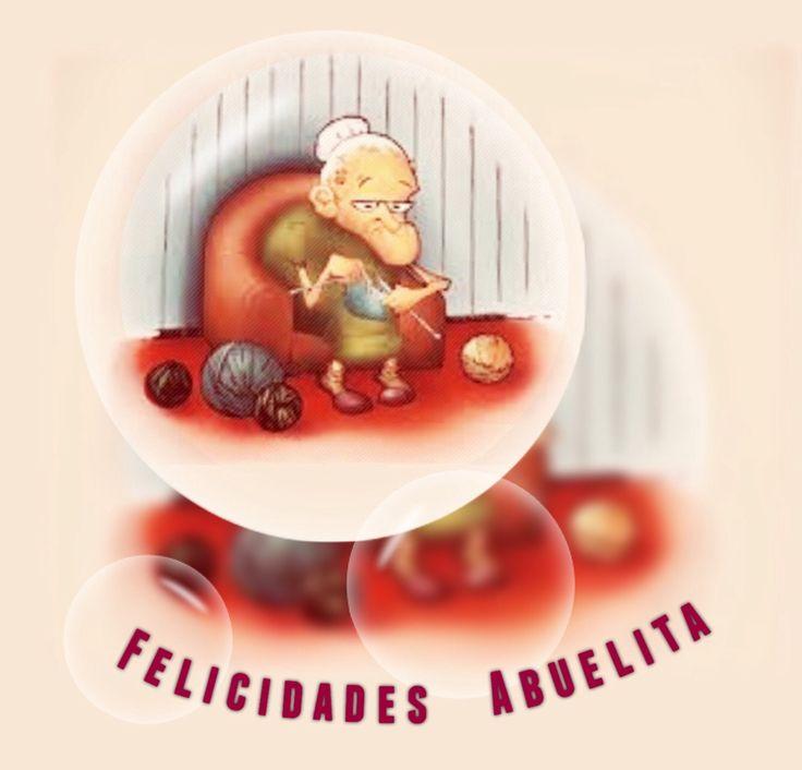 Felicidades abuelita, abuelita sentada en el sillón tejiendo