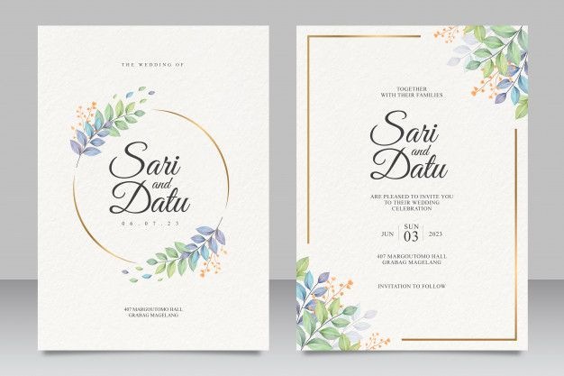 Wedding Invitation Card Template With Beautiful Leaves Wedding Invitation Card Template Wedding Invitation Cards Wedding Invitations