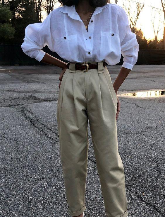 Na Nin Townes Mid-Weight Cotton Trouser / Multiple Colors Na Nin Cotton Townes Trouser / Available in Olive, Midnight, and Khaki – NA NIN Look Fashion, Runway Fashion, Autumn Fashion, Womens Fashion, Feminine Fashion, Lolita Fashion, Fashion Fashion, Korean Fashion, Girl Vintage Outfits