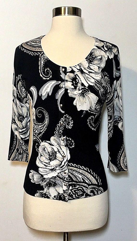 abf75ef11e39 White House Black Market Floral Print Embellished Snap Front Cardigan Size  XS  WhiteHouseBlackMarket  CardiganSweater  Career