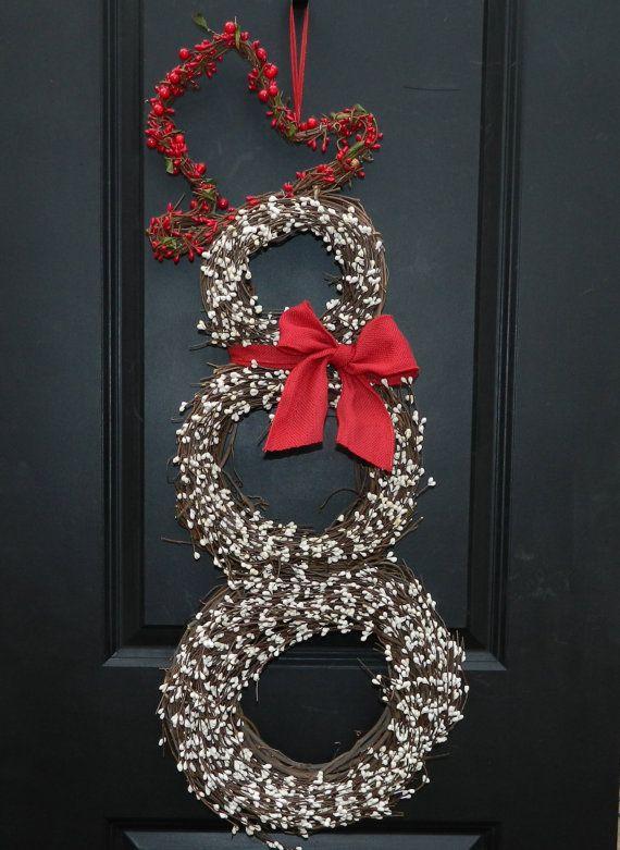 Christmas Wreath - Snowman Wreath - Holiday Wreath