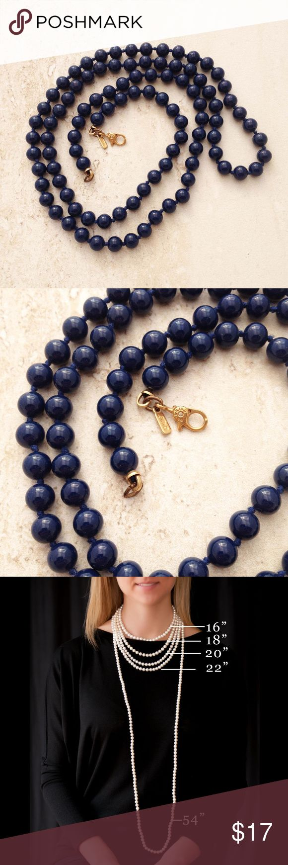 "Vintage Blue Glass Bead Necklace by Monet Simple and elegant, dark blue glass bead necklace.  27"" long with individually knotted, 1/4"" beads abd gold tone lobster clasp.  Marked Monet (c).  From the 60's-70's. Monet Jewelry Necklaces"