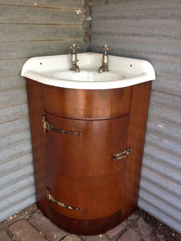 Photo Image Corner Bathroom Vanity Cabinet with Integrated Marble Sink Using Kohler Bellera Oil Rubbed Bronze Under Large