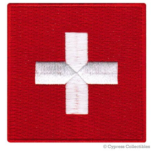 SWITZERLAND FLAG PATCH iron-on embroidered applique Top Quality