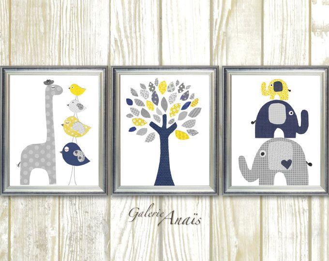 Azul marino amarillo y gris vivero arte impresión bebé niño decoración de la habitación los niños pared arte elefante infantil jirafa aves árbol - conjunto de tres impresiones