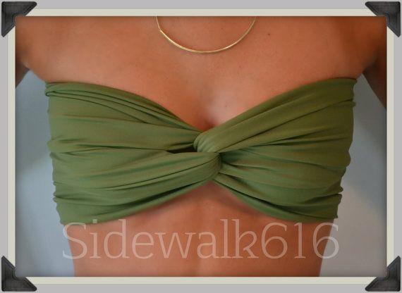 Olive Green Bandeau Top Spandex Bandeau Bikini by Sidewalk616