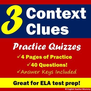 Get ready for your end-of-year reading test with three context clues activities! Each of these reading practice quizzes contains plenty of sentence examples with words in context for multiple-choice test prep.Page one includes eight context clue sentences, guiding students to underline clues to each word's meaning in the sentence as well as infer the meaning of the word in context.