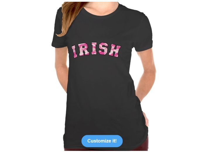 Irish Pink Camo, Style is Women's Crew T-Shirt, color is Black