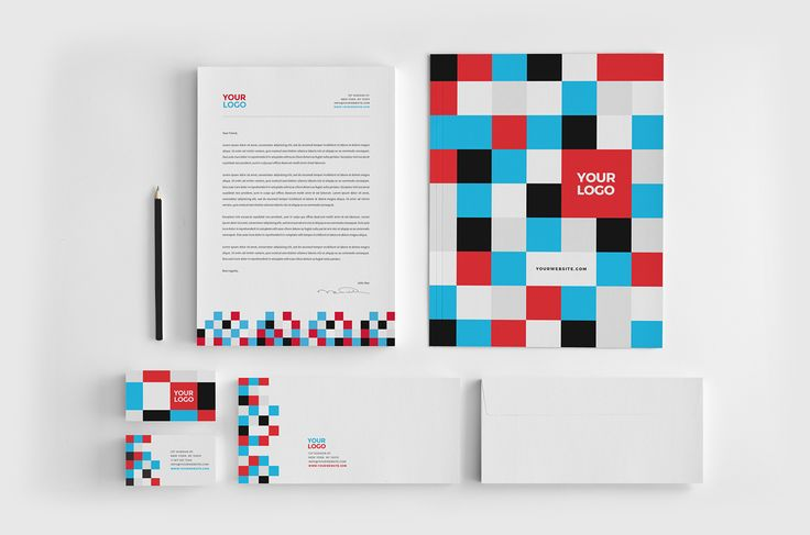 Colorful Square Pattern Stationery