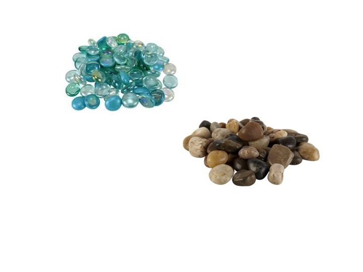 I bought glass gems and mini river rock from Michaels.