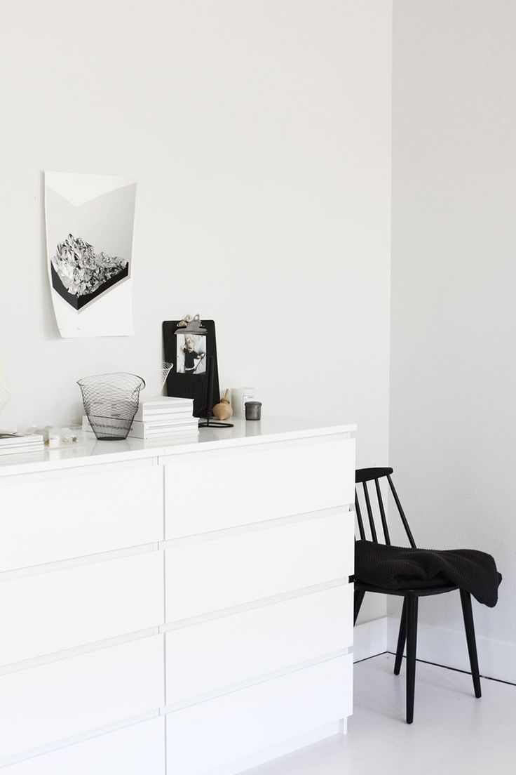 Via A Merry Mishap   Black and White   Bedroom   Ikea Malm