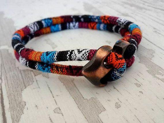 Bohemian Style Mens Anchor BraceletRope Bracelet  by tovvanda