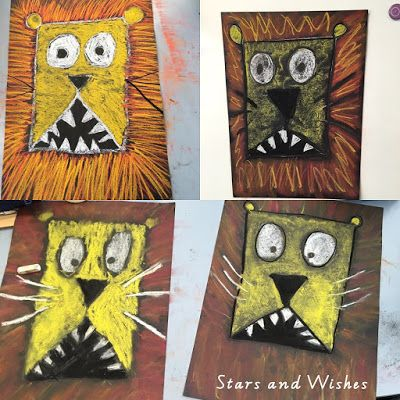 My kiddos have been loving directed drawing activities this year! This week we made these Lions inspired by this post from Kasey at Doodlebugs. We used chalk pastel to create the drawings on black A3