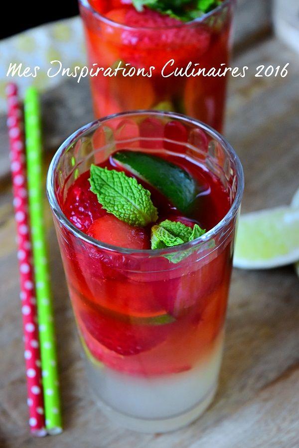 Virgin mojito a la fraise sans alcool